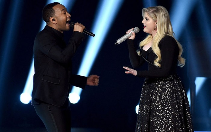 John Legend and Meghan Trainor Performing at the Billboard Music Award 2015
