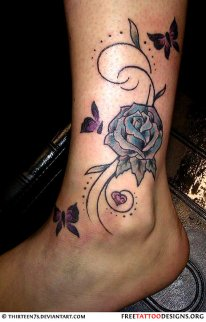 grey-ink-butterflies-and-blue-rose-ankle-tattoo