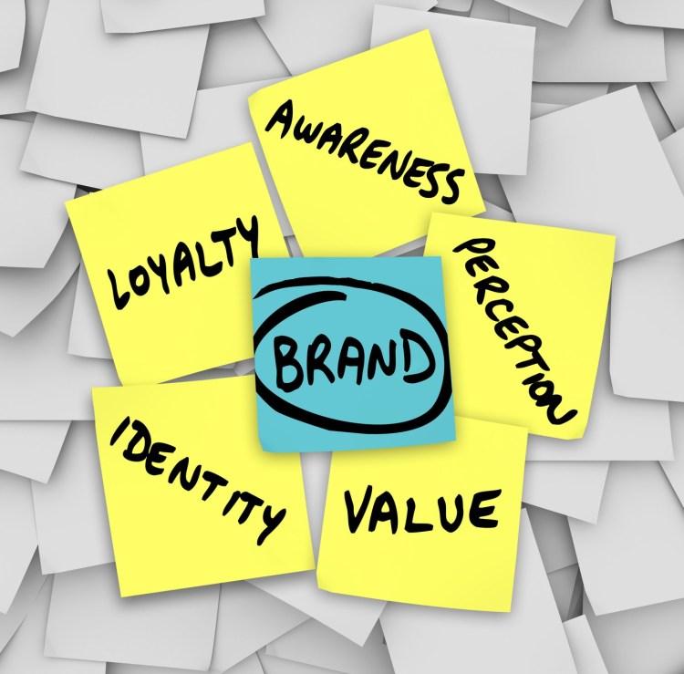 Brand Words Sticky Notes Perception Identity Loyalty